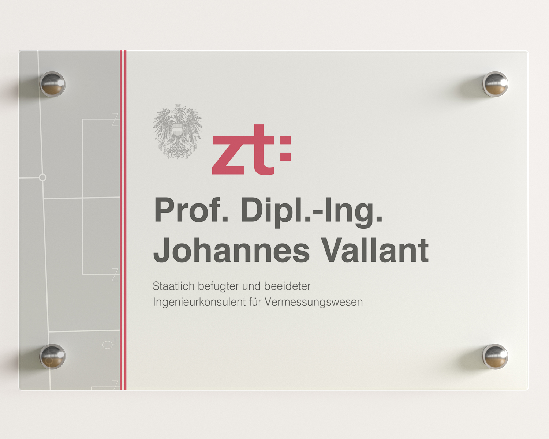 Türschild Ziviltechniker DI Vallant