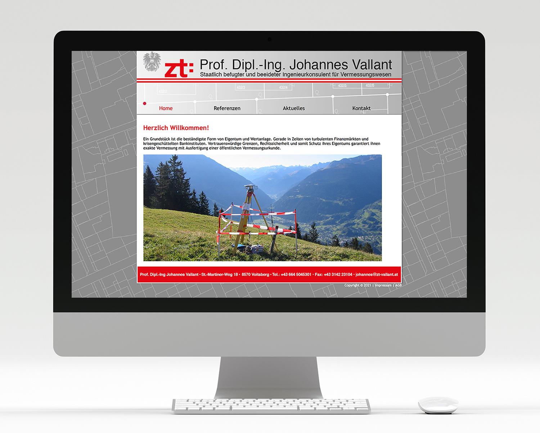 Screenshot Webseite Ziviltechniker DI Vallant