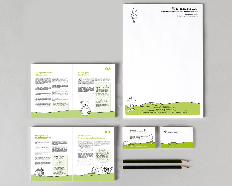Briefpapier, Visitenkarten, ... Kinderärztin Dr. Frühwald Ulrike